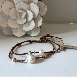 Chan Luu single wrap Pearl leather bracelet